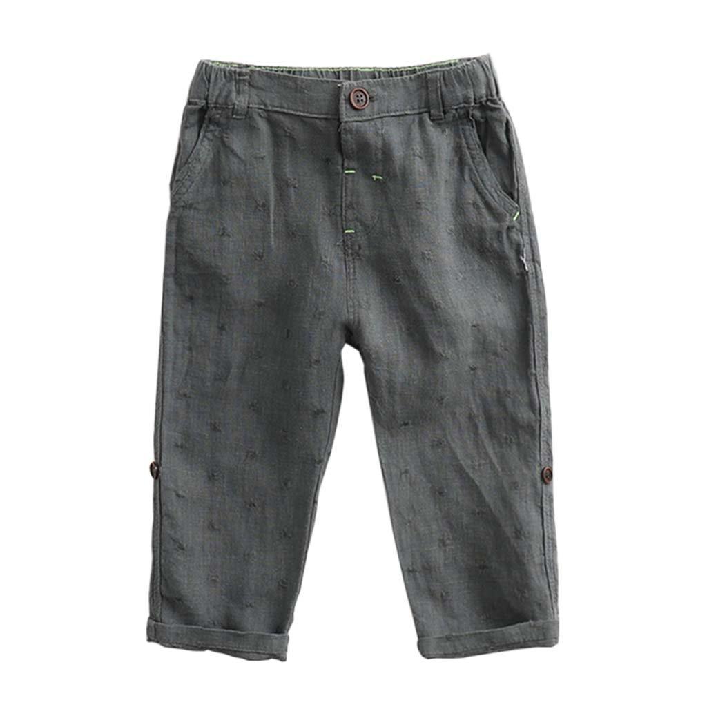 marc janie Boys Summer Fashion 100% Linen Long Pants Baby Elastic Trousers Green 3T (90 cm)