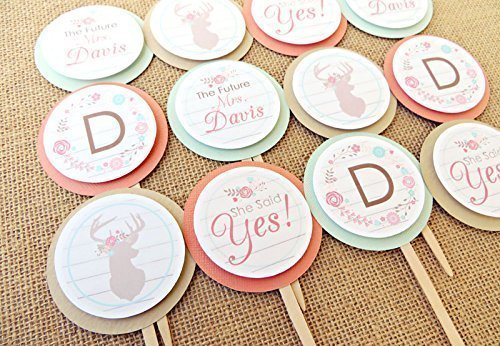 personalized customized rustic bridal shower decorations deer bridal shower cupcake topper set of