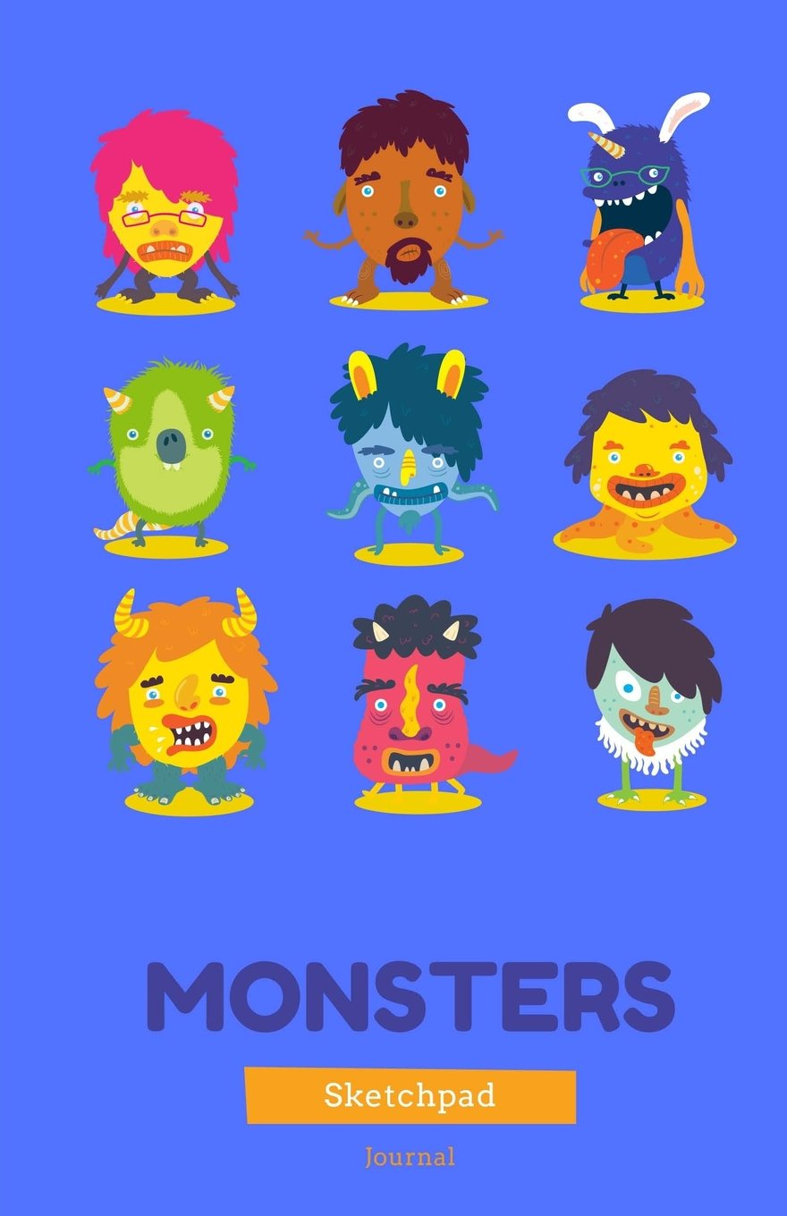 Download Monsters Sketchpad & Journal: Blue, 5x5 x 8.5 Lined Journal, Daily Diary, Notebook for Adults, Teens or Kids (Elite Journal) pdf epub