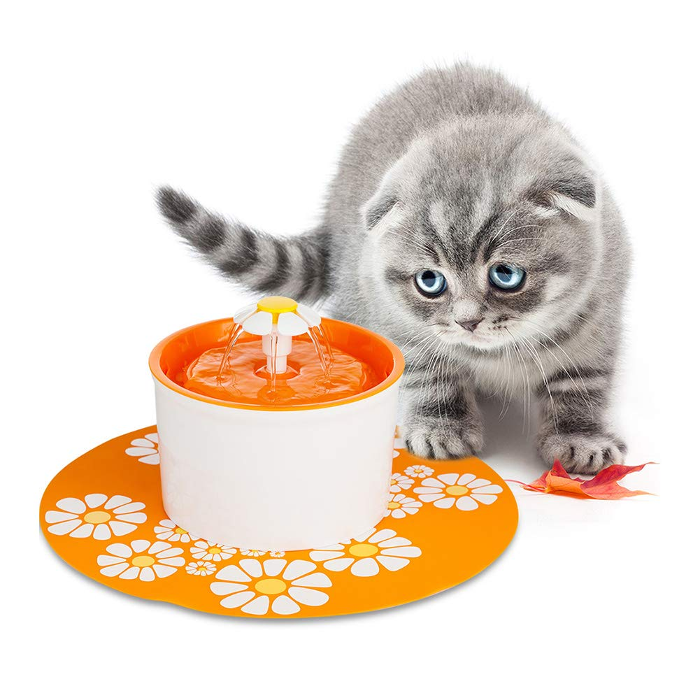 orange MQUPIN Ultra-Quiet Pet Drinking Fountain with Window Display 1.6L Cat Water Dispenser Practical Dog Water Fountain with Silicone Mattress CE (orange, Without Window Display)