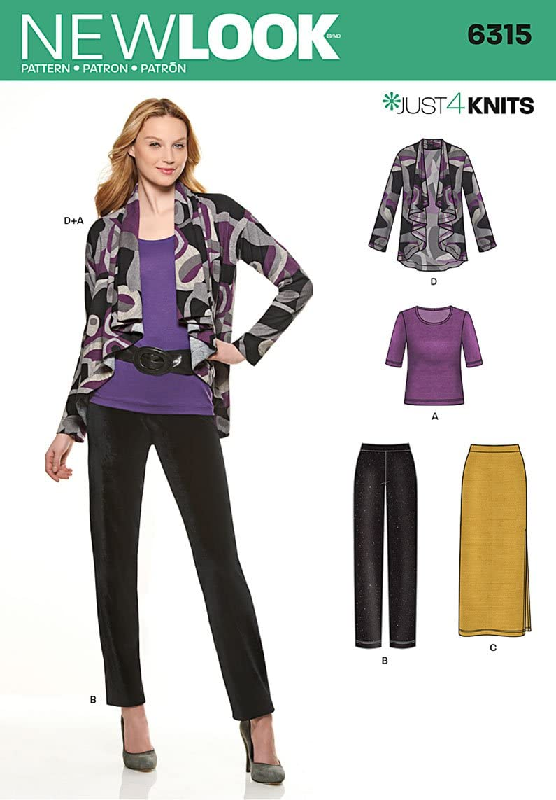 Skirt Simplicity New Look Just 4 Knits Pattern 6315 Misses Knit Jacket Top and Pants Sizes 10-12-14-16-18-20-22