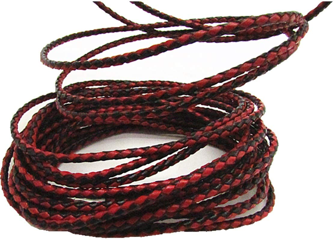 3.0mm Braided Leather Cord Round Braided Leather Cord Leather Working Cord String Cord 5Meter Red
