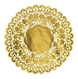 Golden Round Paper Lace Doilies Cupcake Bread Placemats Home Dinner Placemats Tableware Round Gold Foil Metallic Royal Paper Doily Boutique 12 Inch (24PCS)