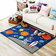 Kids Rug Educational Learning Carpet Galaxy Planets Stars Blue Children's Fun Area Rug Nursery Rugs Solar System Rectangle Rug (Stars, 39 x51 )