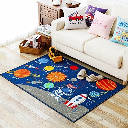 Kids Rug Educational Learning Carpet Galaxy Planets Stars Blue 3.3' x 4.5' Children's Fun Area Rug Nursery Rugs Solar System Rectangle Rug