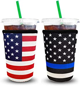 XccMe Reusable Iced Coffee Sleeves 2 Pack Neoprene Insulator Cup Cover for Cold Drinks,Beverages Holder,Ideal for Dunkin Donuts, Starbucks Coffee, McDonalds (Medium 22-24 oz)