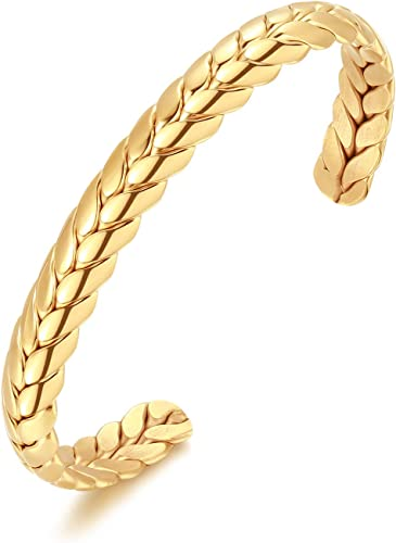 Baoli Titanium Steel 18k Gold Color Roman Numerals Wire Twist Cable Bracelet Adjustable