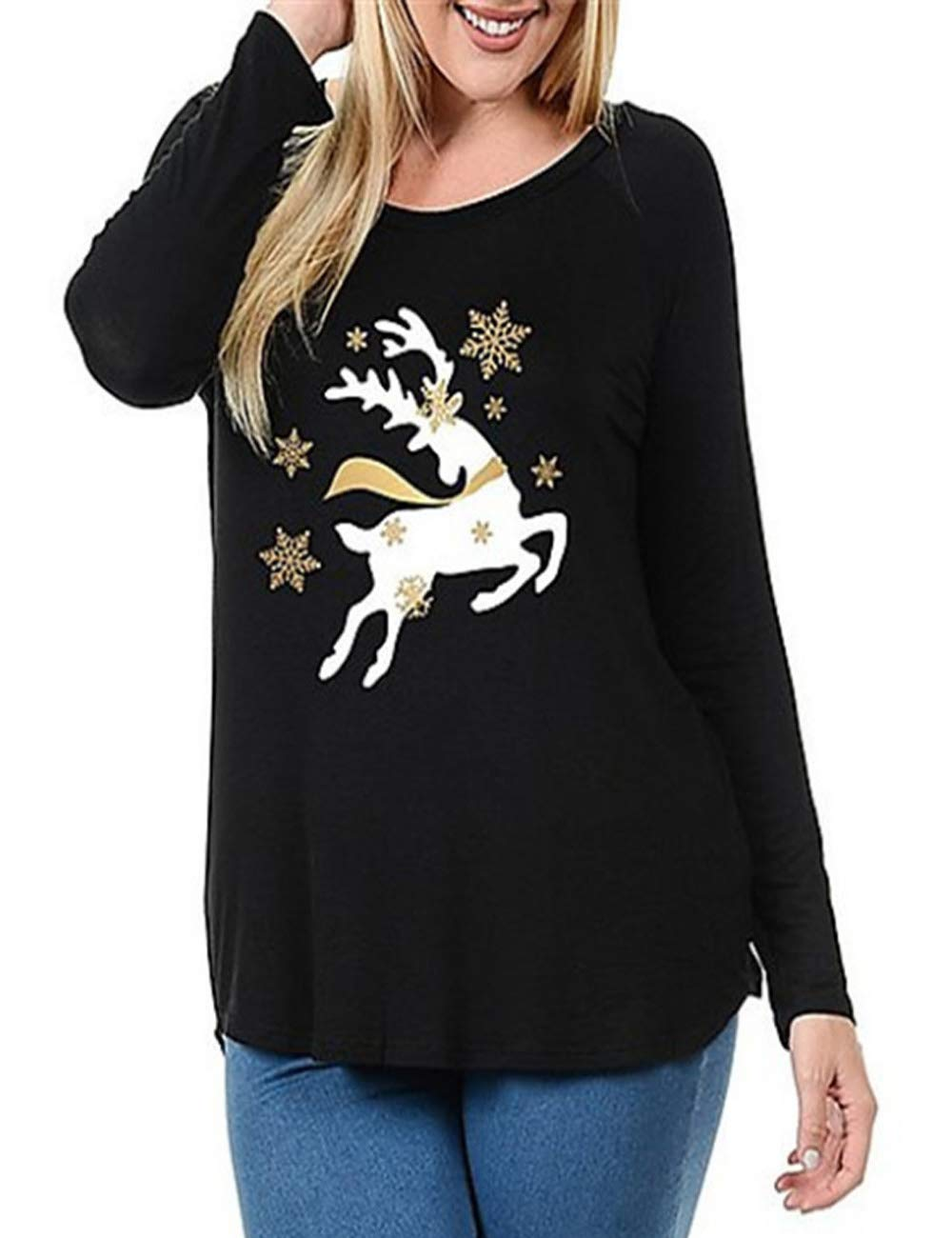 Kancystore Women Plus Size Tunics Christmas Reindeer Blouses With