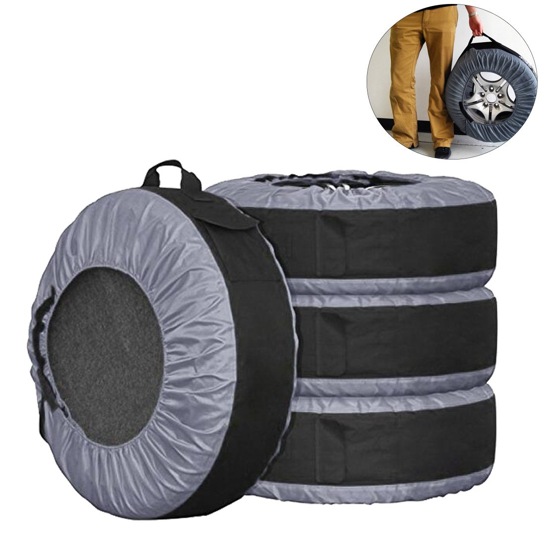 FLR Tire Tote Adjustable Waterproof Grey 30in Tire Covers Bags Seasonal Tire Storage Bag for Car Off Road Truck Tire Totes Set of 4 by FLR (Image #1)