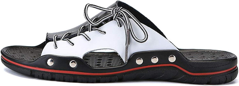 New Genuine Leather Men Slippers Beach Shoes Comfortable Men Summer Flat Heels Male Slides