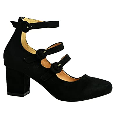 00c4bff688f CucuFashion Womens Mary Jane Pumps Ladies Triple Straps Low Mid Block Heel  Casual Shoes Black Suede