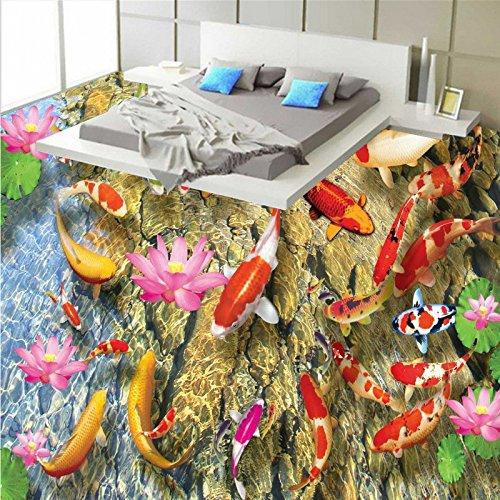 BZDHWWH Beautiful Fish Play Lotus 3D Floor Living Room Hotel Square Lobby Porch Wallpaper Flooring Mural,60Cm X 90Cm