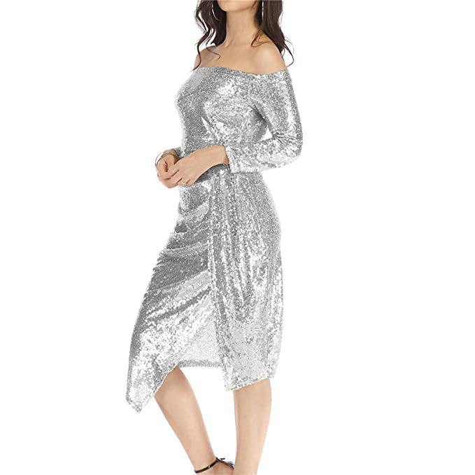 cb76d05fd3cf74 Image Unavailable. Image not available for. Color: general3 Womens Elegant  Sparkly Dress Celebrity Off ...