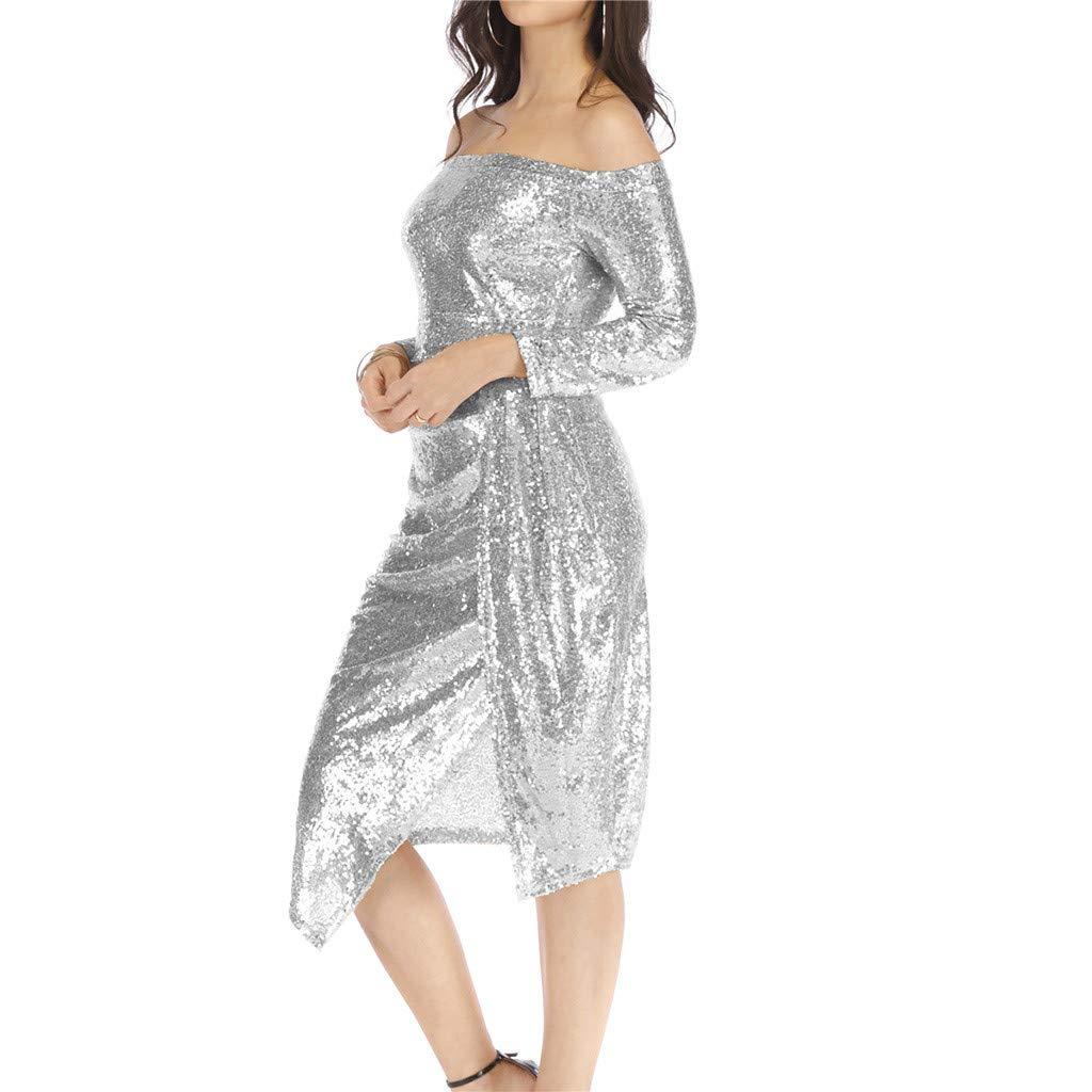 PASATO Women Off Shoulder Bag Hips Open Collar Collar Sequin Dress Dinner Party Dress Maxi Evening Prom Dresses