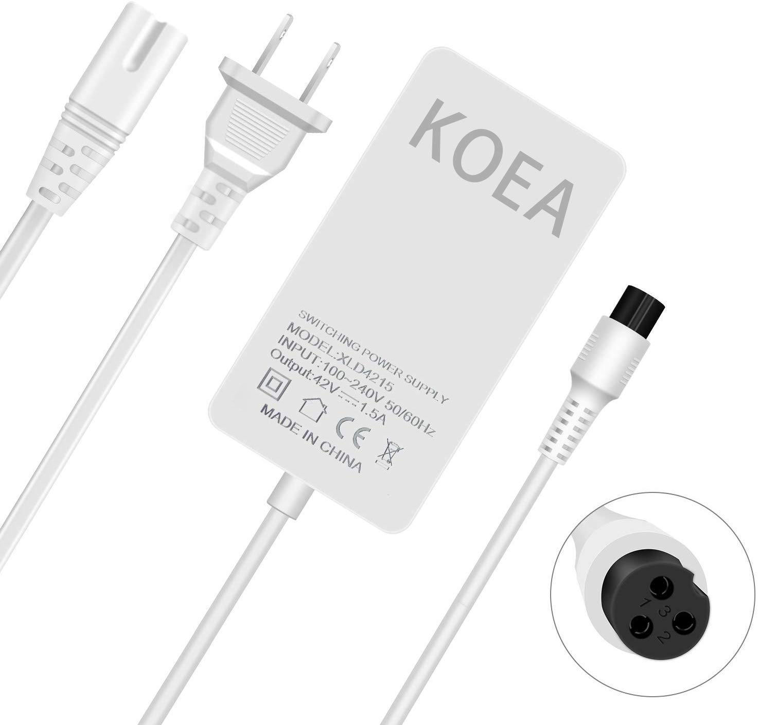 koea New Electric Scooter Bike Battery Charger,3-Prong Inline Connector,42V 1.5A Lithium Battery Charger for Electric Scoote Pocket Mod Sports Mod and Dirt Quad Power Supply Cord Plug.(White)