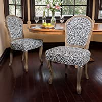 Christopher Knight Home 300253 Godfrey Dining Chair (Set of 2), Black White Pattern