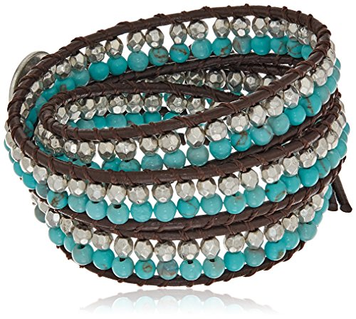 Boho-Chic Vacation & Fall Looks - Standard & Plus Size Styless - Lucky Brand Turquoise Beaded Wrap Bracelet
