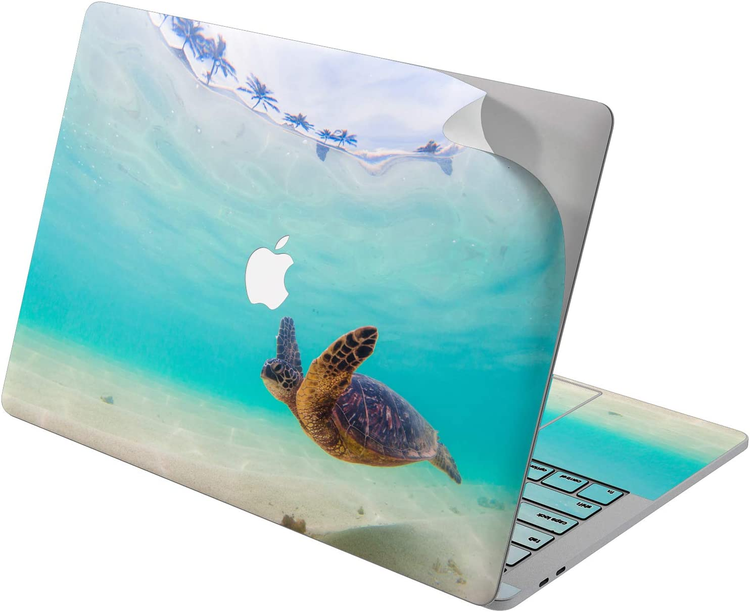 "Cavka Vinyl Decal Skin for Apple MacBook Pro 13"" 2019 15"" 2018 Air 13"" 2020 Retina 2015 Mac 11"" Mac 12"" Trendy Cover Summer Protective Sea Ocean Design Cute Turtle Laptop Print Blue Sticker Swimming"