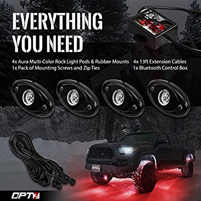 OPT7 Aura 4PC RGB LED Rock Lights w/soundsync Bluetooth App Control - Dimmer Strobe Fade IP67 Waterproof pods for Offroad, Crawling, Climbing - 1 Year Warranty: Automotive