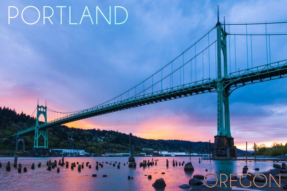 Portland, Oregon - St. Johns Bridge and Sunset (12x18 Art Print, Wall Decor Travel Poster) by Lantern Press B073679PMS  12 x 18 Art Print