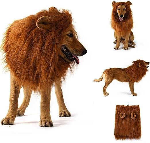 Disfraz de melena de león para perros y gatos medianos a grandes Peluca de melena de león realista realista divertida para mascotas con orejas Ropa para Halloween Fiesta de cosplay Disfraces (Dark):