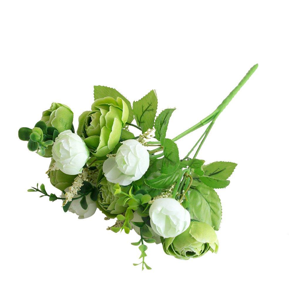 造花を動かす フェイクティーフラワー ウェディングブーケ フラワーアレンジメント ホームデコレーション パーティー 花のセンターピース装飾 グリーン 157D4NFG57EZB B07H3QNG89 グリーン