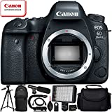 Canon EOS 6D Mark II DSLR Camera (Body Only) - 10PC Accessory Bundle Includes Professional 160 LED Video Light + Mini Condenser Shotgun Microphone + Full-Size 72 Tripod + Sling Backpack + MORE