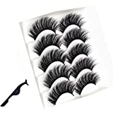 EVERMARKET 3D Mink Hair False Eyelashes with a Tweezer, Full Strips Thick Cross Long Lashes Wispy Fluffy Eye Makeup Tools, 5 Pairs