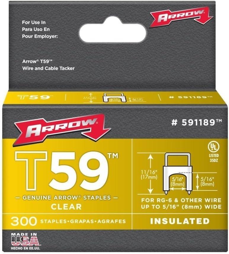 Arrow Fastener 591189 5//16 x 5//16 Clear T59 Staples