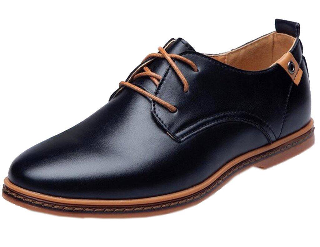 DADAWEN Men's Modern Classic Lace Up Leather Dress Oxfords Shoes Black US Size 9