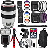 Canon EF 70-300mm IS USM Lens + Pro Flash + 6PC Graduated Filter Set + UV-CPL-FLD Filters + Macro Filter Kit + 72 Monopod + Lens Hood + 64GB Class 10 + Backpack + Tripod - International Version