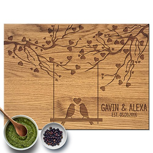 Froolu Love Birds Swing & Hearts Cute cutting board for New Couples Anniversary (Cherry Oak Swing)