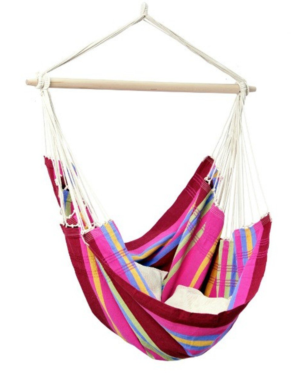 Brazil Hanging Hammock Chair, Indoors and Outdoors, Recycled Cotton Polyester Blend Canvas, Handwoven, Sorbet, 68 L X 42 W, Holds up to 240lbs