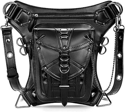 Unisex Steampunk PU Leather Multi-Functional Drop Leg Waist Bag Hip Belt Bag