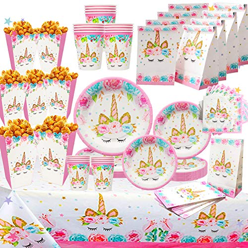 Unicorn Party Supplies Set for 16 | Plates, Cups,Table Cloth, Napkins, Popcorn Boxes and Gift Bags Kit | Diposable Tableware | Magical Decorations for Girls or Kids Birthday Parties, Baby shower by B