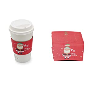 25pcs Christmas Coffee Cup Tea Cup Sleeves, 12 oz 16 oz