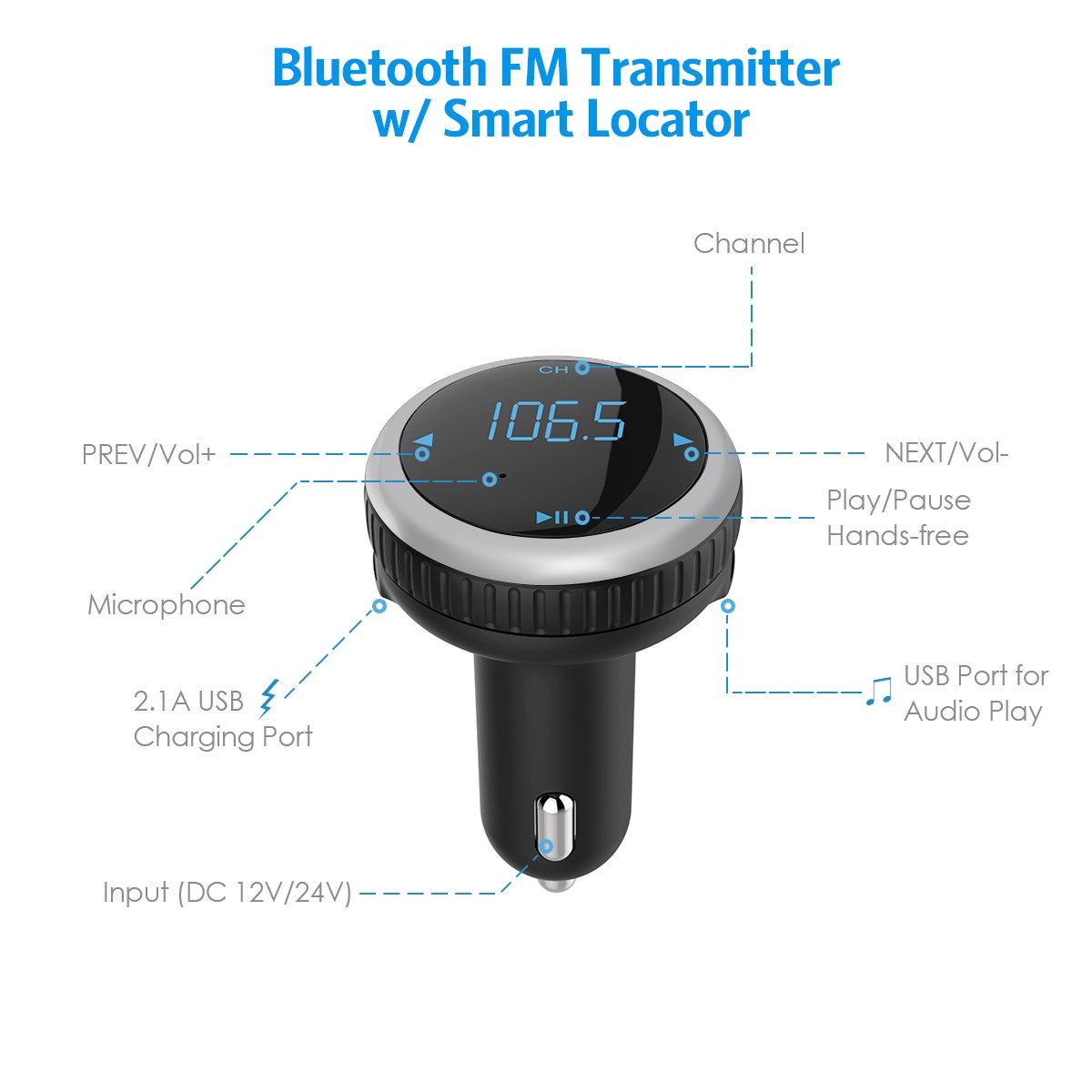 Criacr Bluetooth FM Transmitter, Car Charger with Smart Locator, 5V 2.1A USB Charging Port, Wireless In-Car Radio Adapter Car Kit, MP3 Player, Hands-free Call for iPhone, Samsung, Smartphone (Silver) by AMIR (Image #2)
