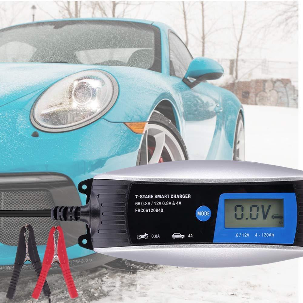 Chargeur Batterie pour Voiture Tondeuse /à Gazon ou Bateau Enti/èrement Automatique 6A 12V Intelligent avec Testeur de Batterie et Charge dentretien IP65 /Étanche pour Les Voitures Moto
