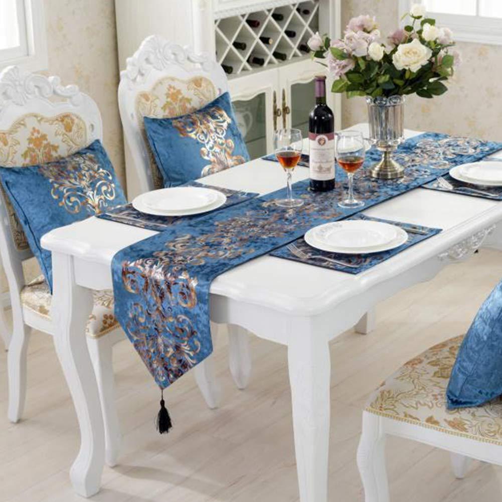 brod/é /à chaud doux et lisse 32x180cm beige d/écoration de table basse ou de placard Chemin de table de style europ/éen classique en bronze avec motif floral