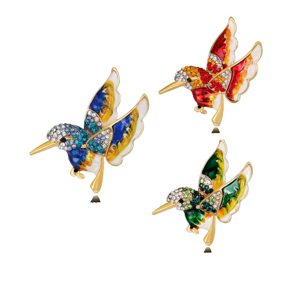 RINHOO FRIENDSHIP 3pcs Birds Brooches Pin Crystal Oil Painting Enamel Hummingbird Colorful Bird Shape Corsage (Green Blue Red)