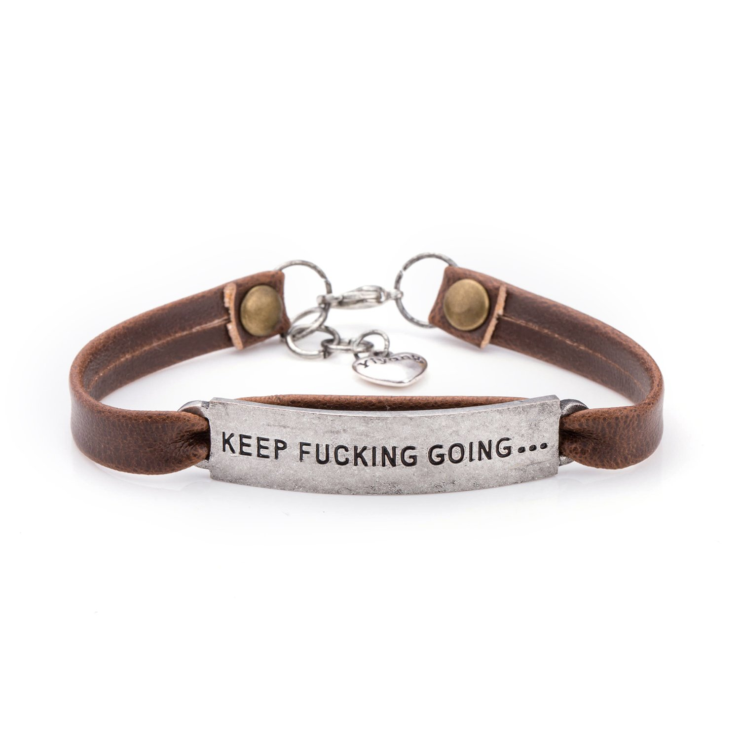 UNQJRY Leather Bracelets for Friends Inspirational Engraved Personalized Gift Jewelry Keep Fucking Going