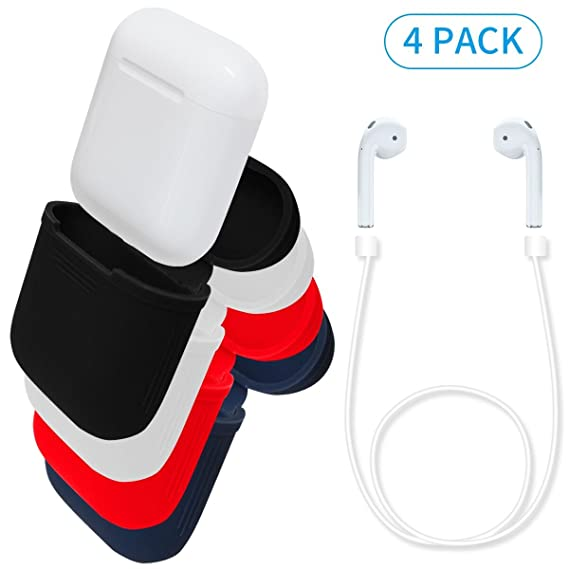 Silicone AirPods Case+ AirPods Strap, Daite Shock Proof Protective Cover for AirPods Charging Case and 52CM Fluorescence Cable for Airpods-Black+ ...