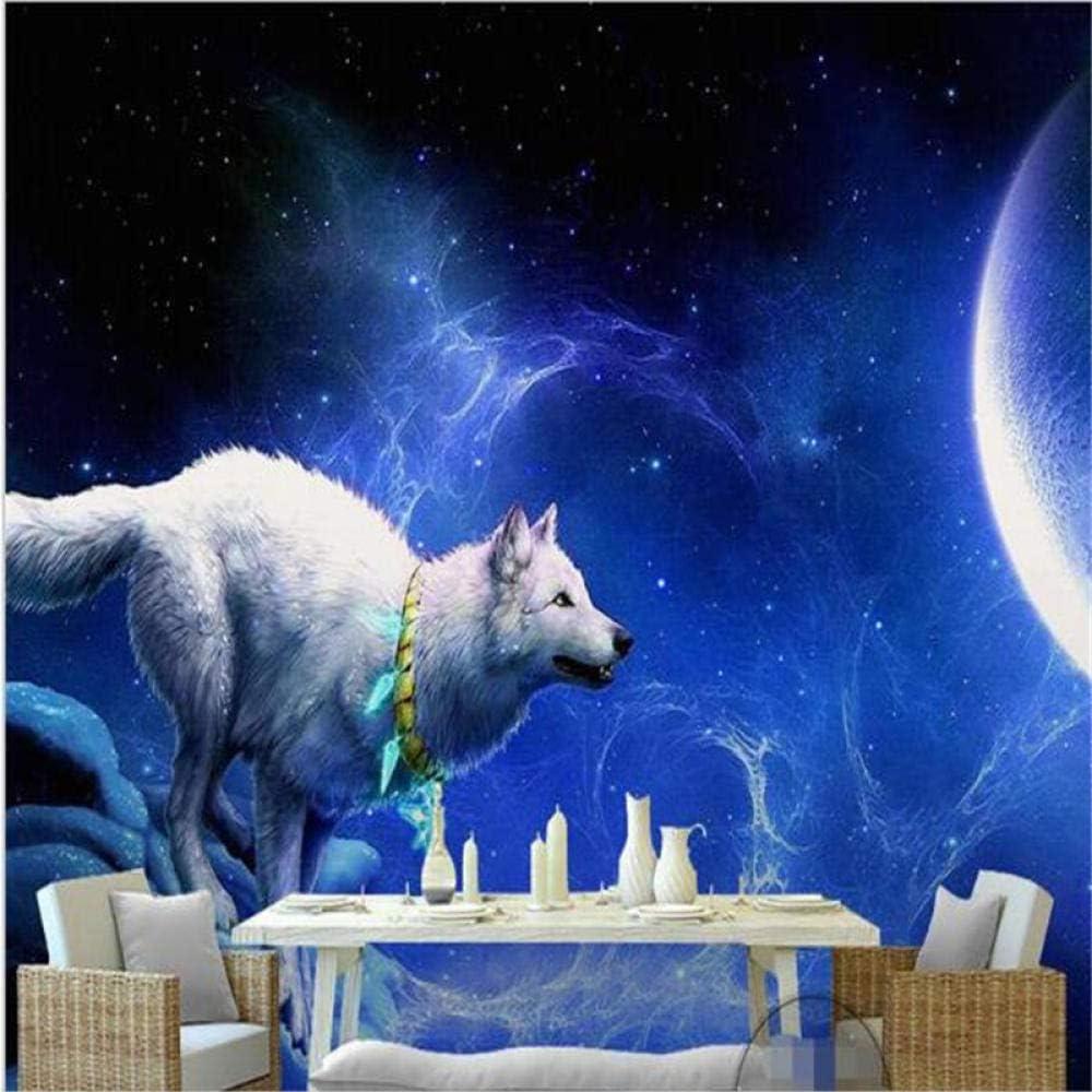 Amazon Com Nidezuiai Mural Customize 4d Wallpaper White Wolf Moon Star Animal Series Hd Print Wall Decoration Art Poster Picture Large Silk Murals For Children S Room Kindergarten Game Decor Furniture Decor