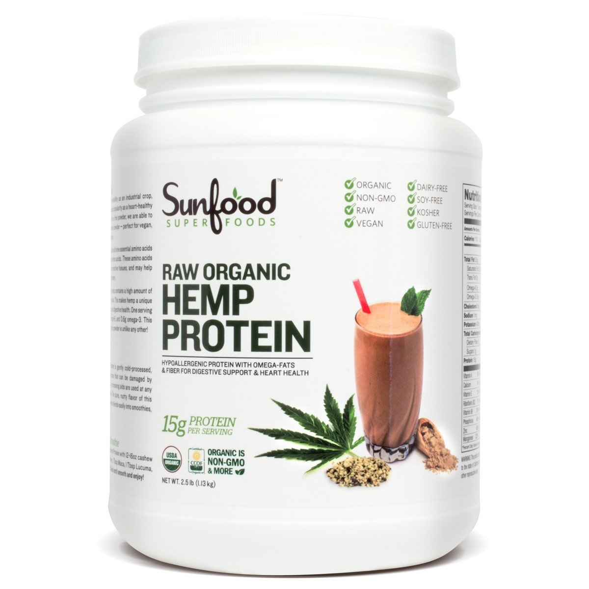 Sunfood Hemp Protein, 2.5 Pounds Tub, Organic, Raw