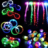 Atcket 30 Pieces LED Light Up Party Favor Toy Set.LED Party Pack With LED Accessories - 12 LED Flashing Bumpy Rings,6 LED Bubble Bracelets,6 LED Glasses And 6 LED Fiber Optic Hair Extensions