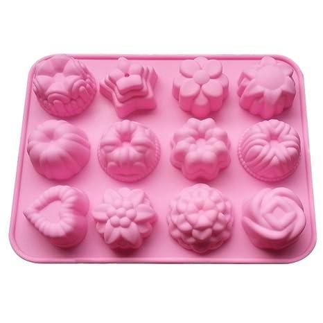 outflower molde molde de rosa en 3d redondas Círculo huecas de chocolate con Galleta jabón Flan
