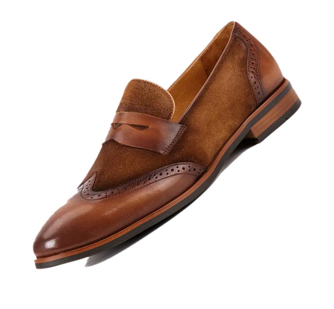 Costura Broch Puntiagudo Tallado No Cierre marrón marrón Oscuro hombres De Conducción zapatos De Cuero Mocasines Caballero Suede Hecho A Mano marrón