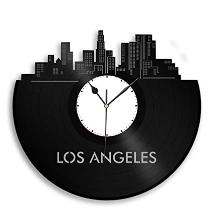Amazon.com: VinylShopUS - Los Angeles CA Vinyl Wall Clock Cityscape ...
