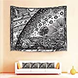 Drum End Table Sale iPrint 1pcs Hanging Tapestry and 4pcs Pillow case,Wall Hanging Blanket Beach Towels Picnic Mat Home Decor,Picture with Moon Sun End of The World Themed,3D Printed Tapestry for Bedroom Living Room
