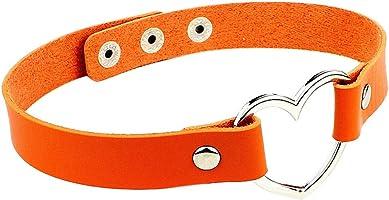 Behkiuoda Women PU Leather Choker Necklace Neck Chain Pendant Heart Love Jewelry Clavicle Chain